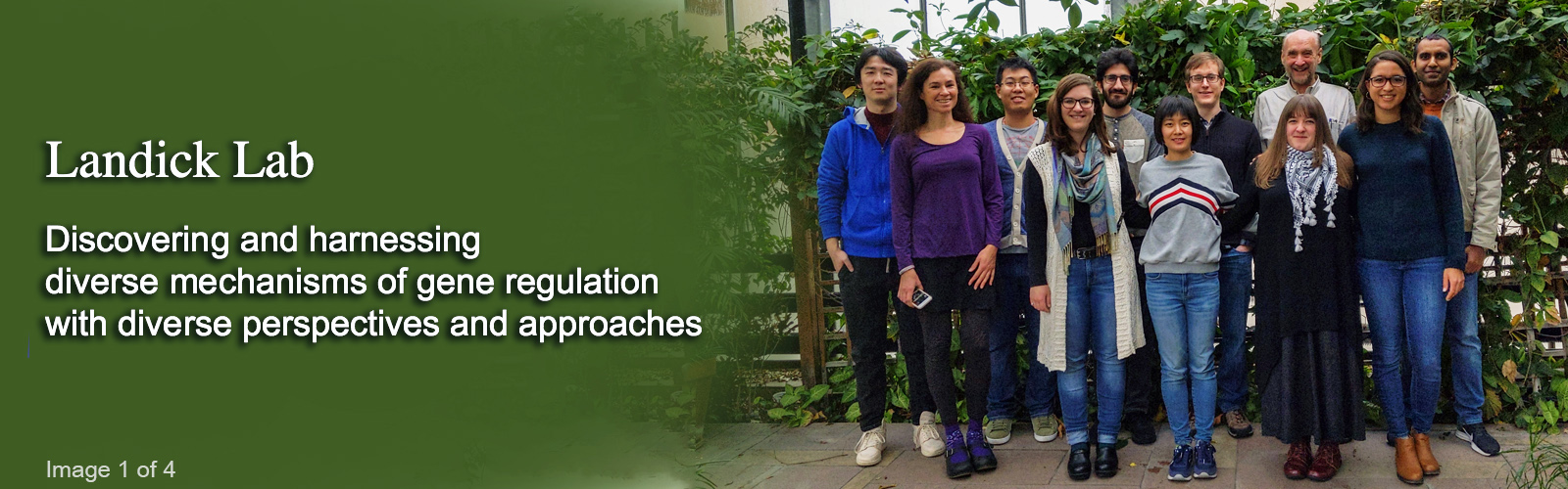 header with Landick Lab members in a greenhouse